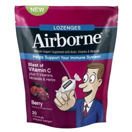 Airborne Lozenge Berry 20 Count By Reckitt Benckiser Item No.:219444 OTC219444 NDC No.: 47865-0185-91 47865018591 UPC No.: 6-47865-18591-8 647865185918 Item Description: Misc Children's Cold &Allergy