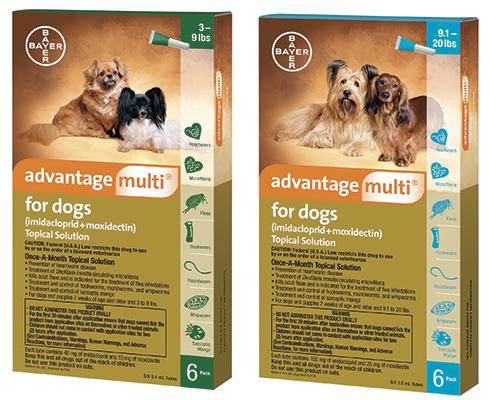 Advantage Multi Dog - ludes 2Pk(3-9# Green) & 4Pk(9-20# Teal) Bayer Acct R