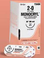 Suture #0 Monocryl (Ct-2) 1/2 Circle Tpr Point 27mm / 27 Violet B36 By Ethicon(