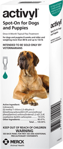 Activyl 4.62ml XLarge Dogs (88-132 Lbs) Turquoise 6 X6-Dose� B36 By Merck Animal