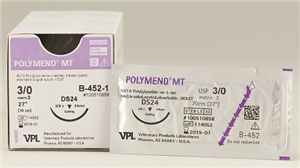 Suture #0 Polymend Mt [Hr37S] 1/2 Circle Taper / 27 Violet [V-340-1] B12 By Vet