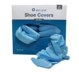 Shoe Covers Blue Poly Non-Skid B100 By Vet One Item No.:Vet-OTC-MW 610123<Br>Mfr<Br>Vet One <Br>Sku<Br>610123<Br>Unit<Br>B100<Br>Mfr Code<Br>610123<Br>Vendor Skus<Br>610123<Br>Case QT.y<Br>5<Br>Size<B