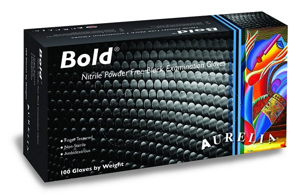 Exam Gloves Aurelia Bold Nitrile Powder And Latex Free Black [Small] - Industria