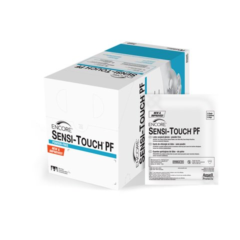 Surgical Gloves Encore Sensi-Touch Latex - Powder Free - Cream #7 B50 By Ansell