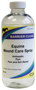 Barrier Clear Equine Wound Care Spray (Antiseptic Plus Pain And Itch Relief) W/