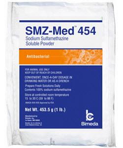 Smz-Medium 454 Soluble Powder (Sodium Sulfamethazine) 16 oz By Bimeda Pet