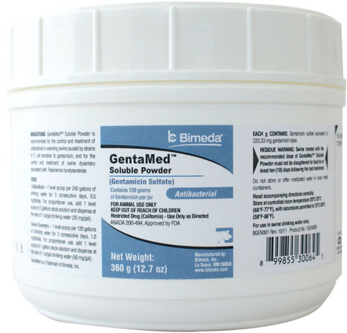 Gentamed Soluble Powder 360gm Each By Bimeda Pet