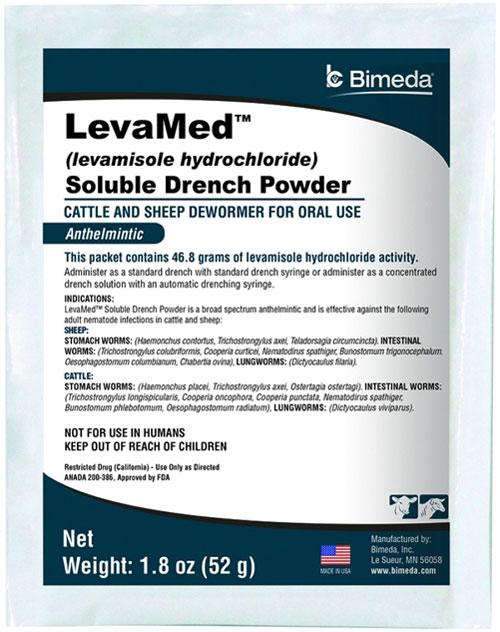 Levamed Soluble Drench Powder (Levamisole Hydrochloride) - 52G Pouch Each By Bim