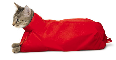 The Original Cat Sack Restraint Nylon Red Medium (5-10#) Each By Four Flags