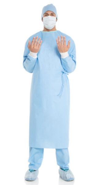 Surgical Gown Ultra Fabric Reinforced Blue XLarge Each By Halyard Health