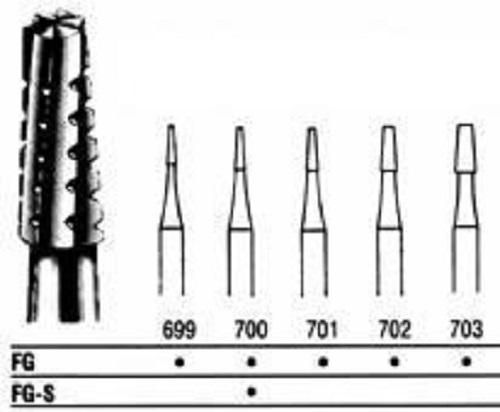Cross Cut Fissure Taper / Friction Grip #701L P10 By Integra Miltex