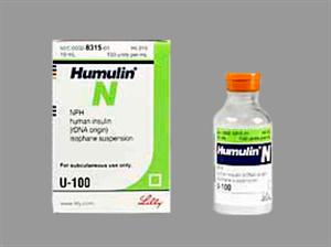 Insulin Inj [Humulin N Nph] 100U/ml 10cc By Lilly