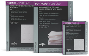Antimicrobial Puracol Plus Ag Collagen Dressings 4X4 Each By Medline Industrie