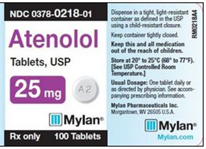 Atenolol Tab 25mg B100 By Mylan Pharmaceuticals