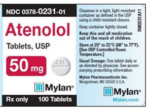 Atenolol Tab 50mg B100 By Mylan Pharmaceuticals