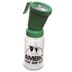 Ambic Euro-Style Non-Return Teat Dipper - Green 15 ml Dip Cup Each By Nasco