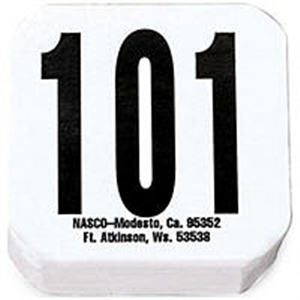 Hip / Back Tags Special 59 - White Tag & Black Numbers 1-11/16 X1-11/16 B500