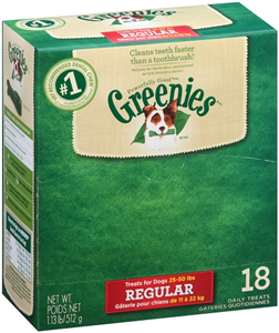 Greenies Dental Chews Canine - New Formula (18 Treats Per Bag) Individually Wra