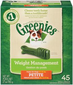 Greenies Dental Chews Canine Treat Tub Pak - New Formula 27 oz (45 Treats Per Ba