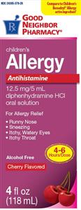 Diphedryl Elix (Diphenhydramine) 12.5Mg/5ml - Cherry Flavor 4 oz By Perrigo Phar