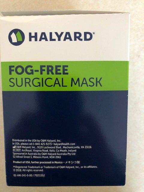 Surgical Masks Fog Free Foam Band Tie - On [Blue] B50 By Professional Hospital Supply Item No.:Vet-OTC-MW 039176 Halyard Ref#49214 50/bx  (01)20680651492146  20-6-80651-49214-6
