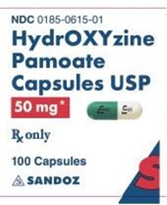 Hydroxyzine Pamoate Caps 50mg Non-Returnable B100 By Sand oz