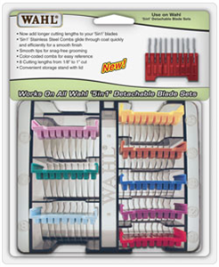 Clipper Comb Attachment Set 5 In 1 Stainless Steel (8 Combs) Set By Wahl Clipper
