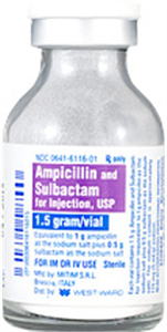 Ampicillin And Sulbactam 1.5gm - (Recon To 4 ml s) 4ml By West-Ward Pharmaceutic