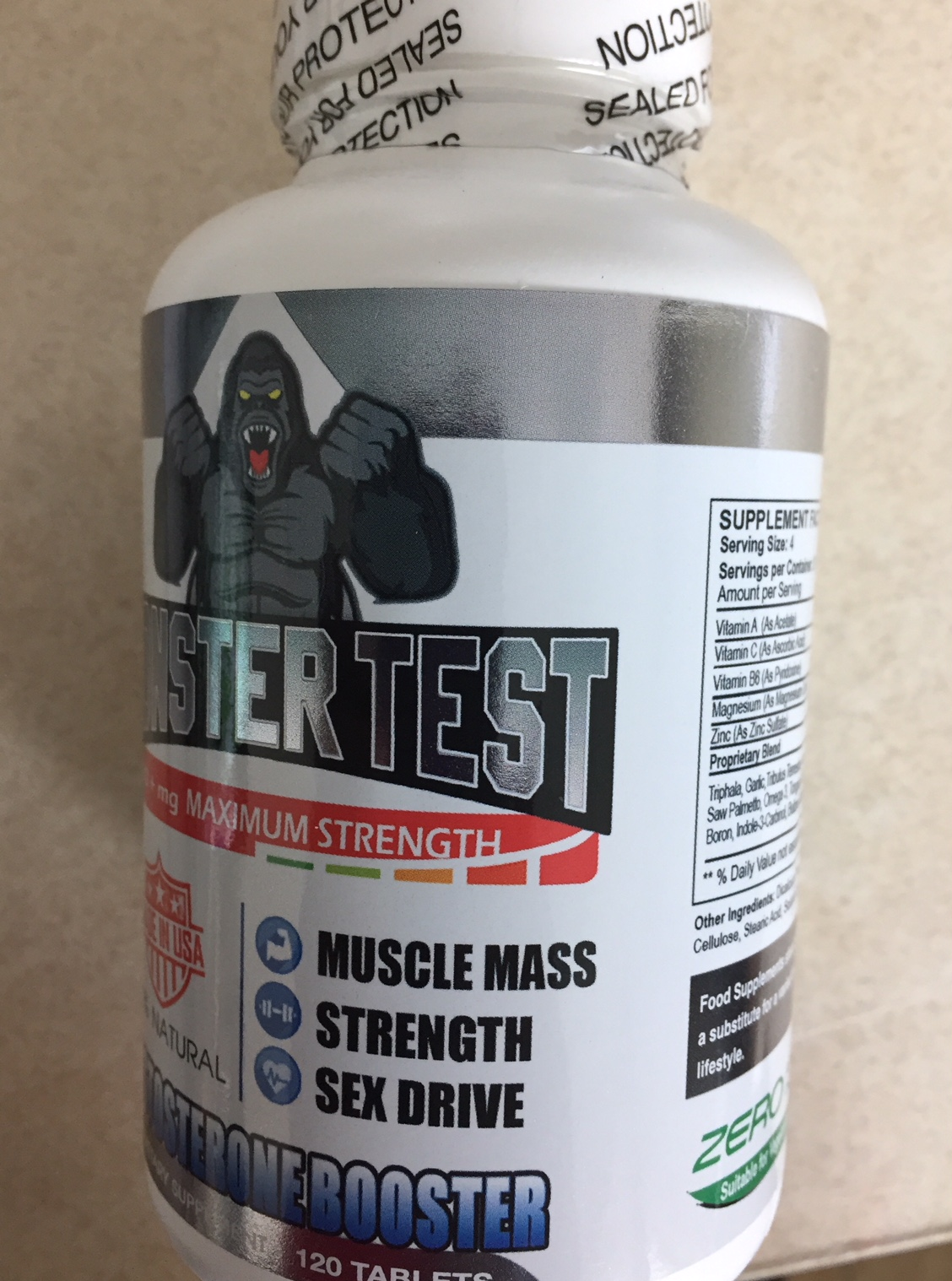 MONSTER TEST 100% NATURAL 120 TAB