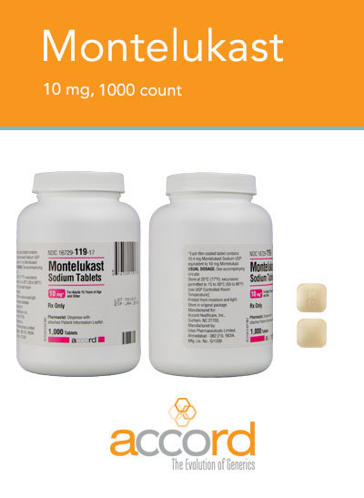 RX ITEM-Montelukast Gen Singulair 10Mg Tab 1000 By Accord Pharma