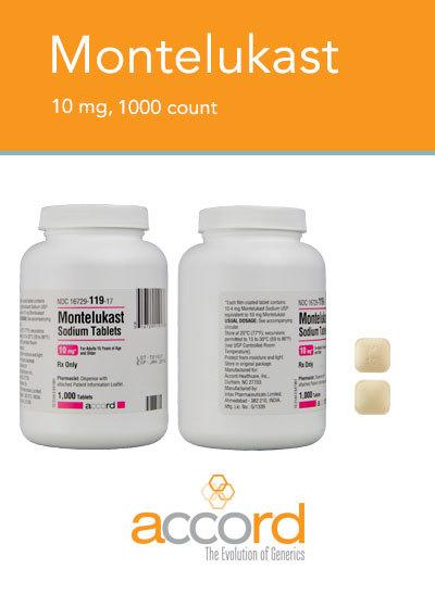 Montelukast Gen Singulair 10mg Tab 1000 by Accord Pharma item No.:RX16729011917/H NDC No.16729011917 UPC No.:316729119177 NDC No. 16729-0119-17 UPC/GTIN No. 3-16729-11917-7 MPN 11917