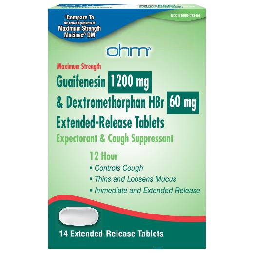 Guaifene Dm 60mg Er Gen Mucinex Dm 1200 60mg Tab 14 By Ohm Pharma