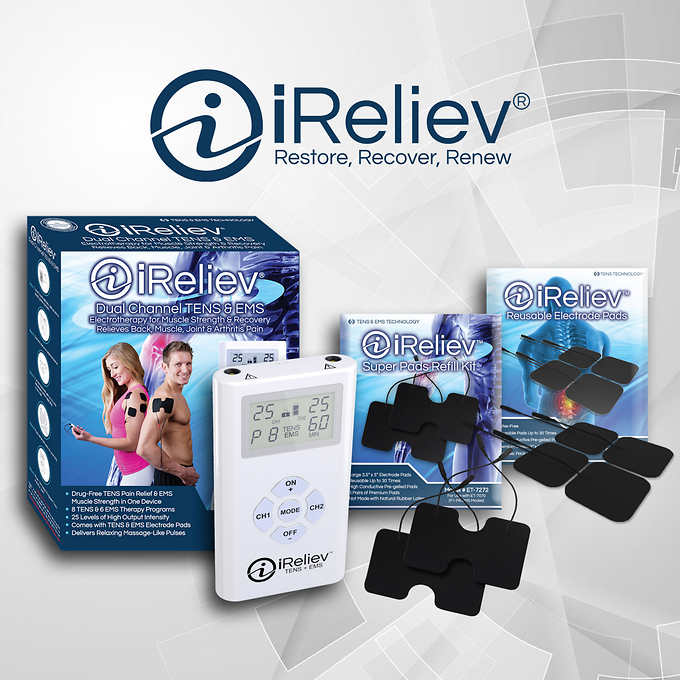 iReliev Dual Channel TENS & EMS System OTC
