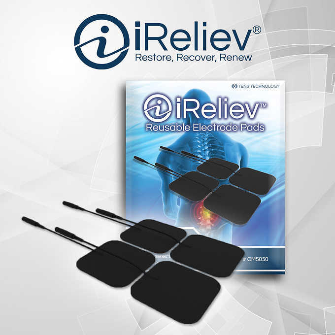 iReliev Premium 2 x 2 TENS Electrode Replacement Pads, 4 Pack of 4 Pads