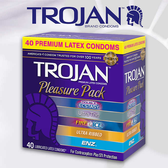 Trojan Pleasure Pack 40 Assorted Condoms By Church & Dwight