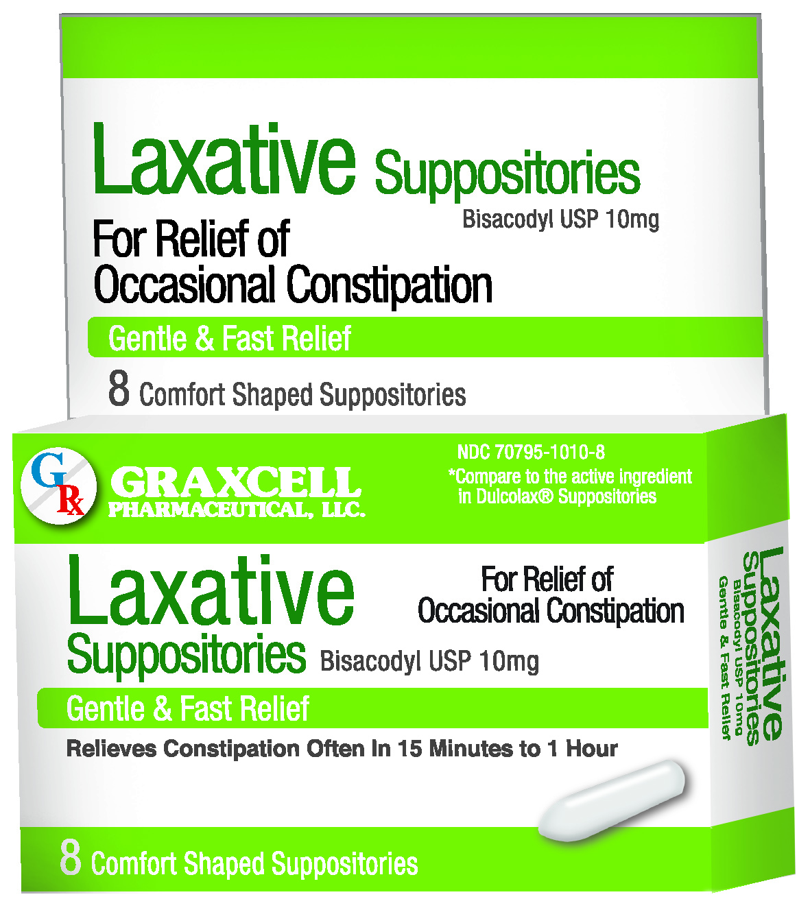 LAXATIVE SUPPOSITORIES BISACODYL USP 10 MG 8 by Graxcell Pharma