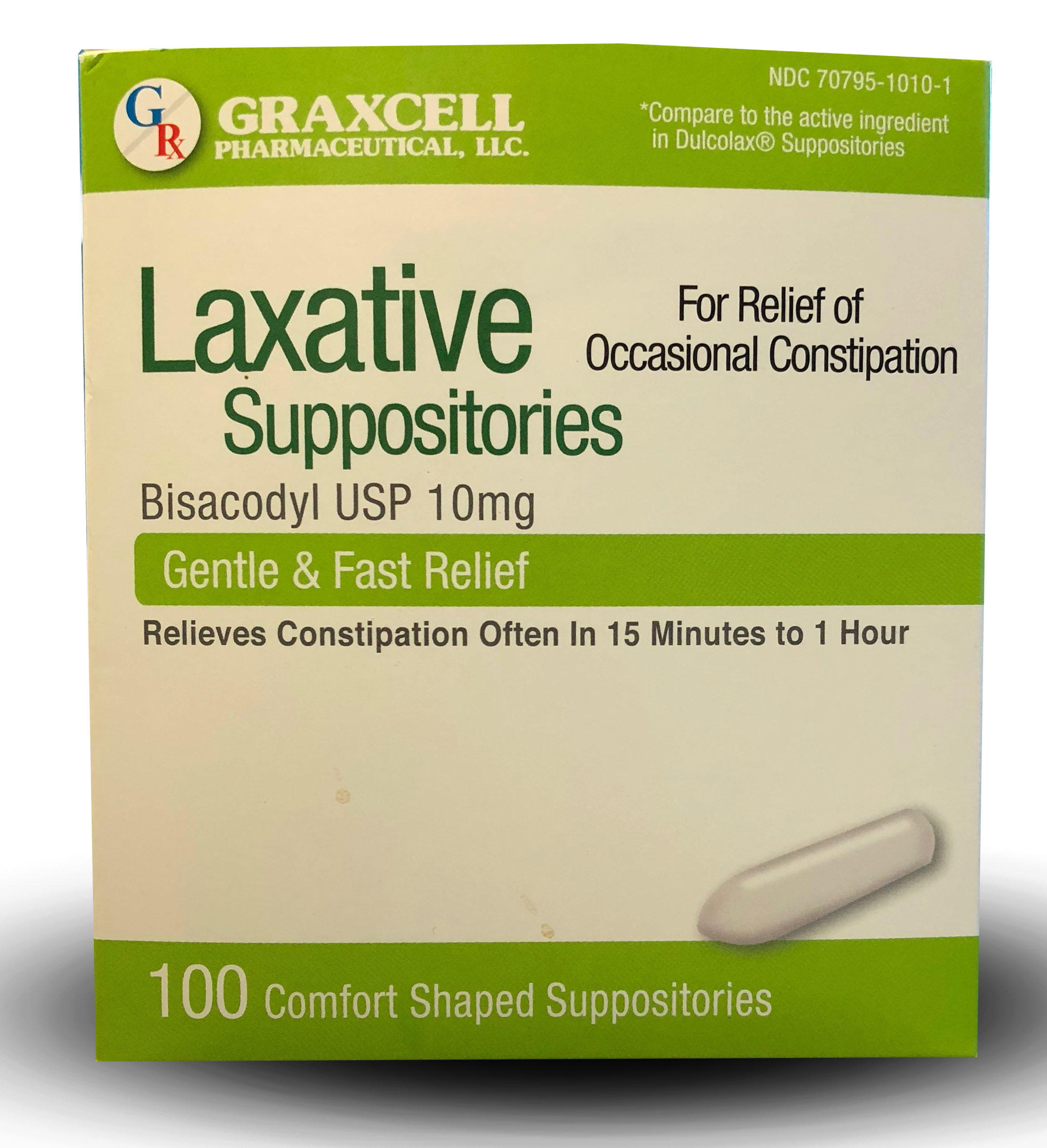 LAXATIVE SUPPOSITORIES BISACODYL USP 10 MG 100