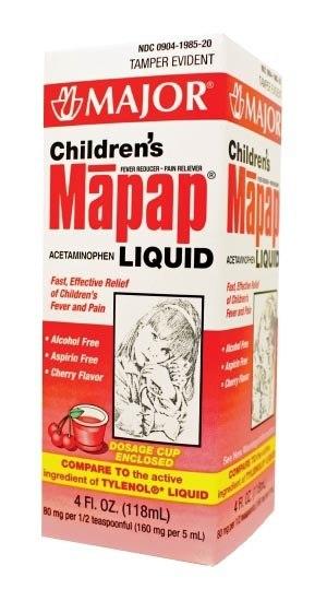 Acetaminophen Child 160Mg-5ml Sus 118ml By Major Pharma