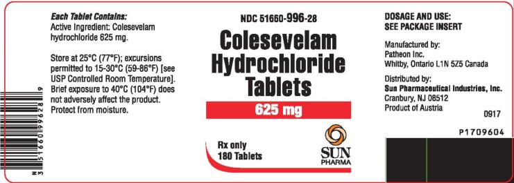 RX ITEM-Colesevelam Hcl 625 Mg Tab 180 By Sun Pharma Gen Welchol
