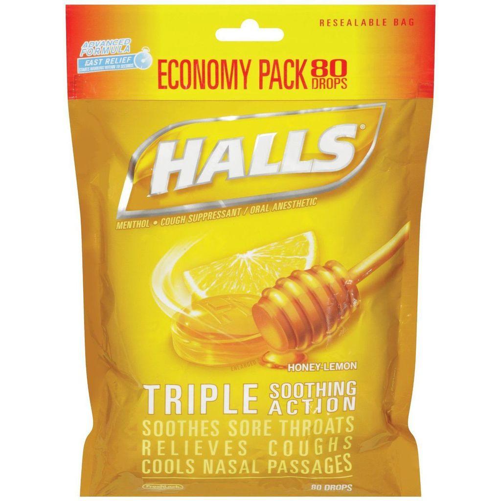 Halls Bag Honey Lemon 80 Count By Mondelez Global LLC