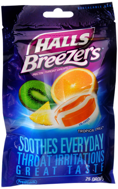 HALLS BREEZERS BAG TROPICAL CHILL 25CT