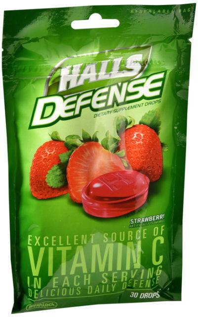 HALLS DEFENSE BAG STRAWBERRY 30CT By Mondelez Global Llc