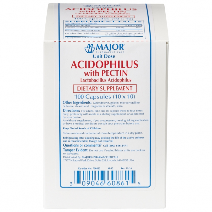 Acidophilus W/ Pectin Cap 100 Unit Dose Package By Major Pharma(Rugby)