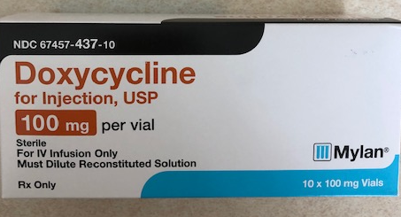 Doxycycline Hyclate 100mg Vial 10 By Mylan Pharma. Item No.: Rx827428 827428  NDC No.67457-0437-10 67457-437-10 67457043710 6745743710  UPC No.:363323130114 NDC No.63323-0130-11 UPC/GTIN No.3-67457-43