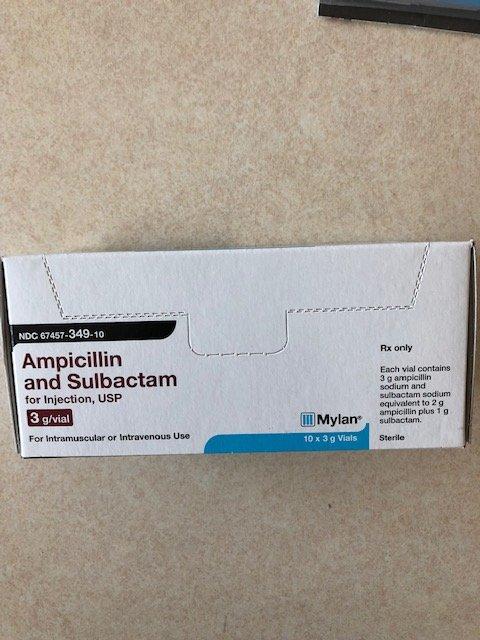 Rx Item-Ampicillin Sodium-Sulbactam 3 G Vial 10 By Mylan Pharma