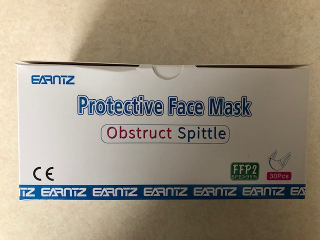 Protective Face mask Ostruct Spittle FFP2 BFE>95% One Box of 30 Masks