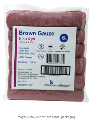 Brown Gauze, Non-Sterile, Latex-Free, 6 x 5yd Pack of 12 By Amerisourcebergen