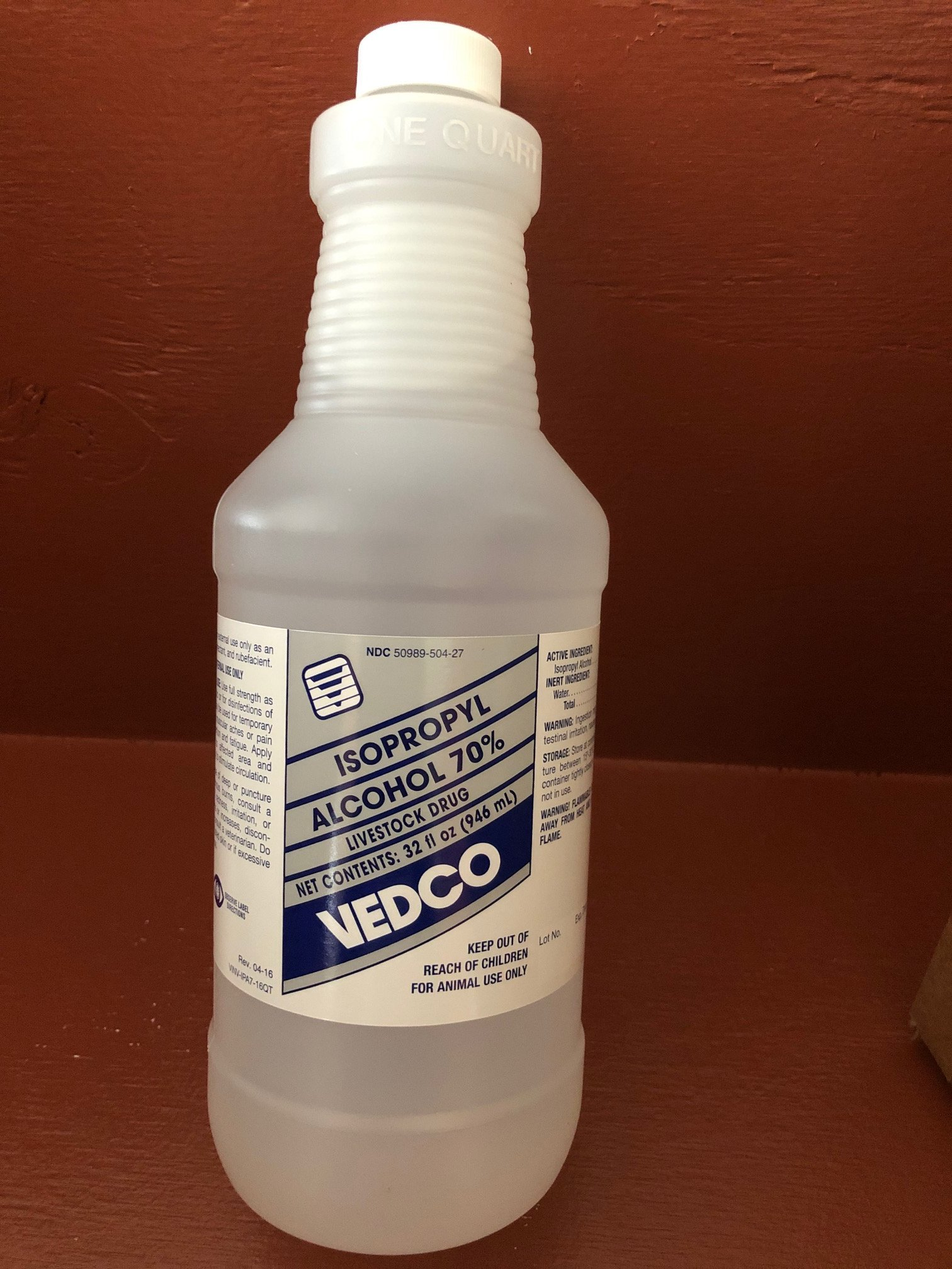 Alcohol Isopropyl 70% Qt By Vedco(Vet) Veterinarian Use 32 oz