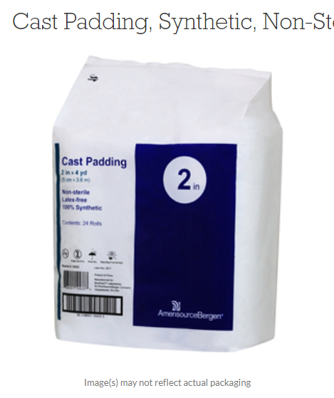 Cast Padding, Synthetic, Non-Sterile, 2 x 4 yd By Amerisourcebergen Pack of 24