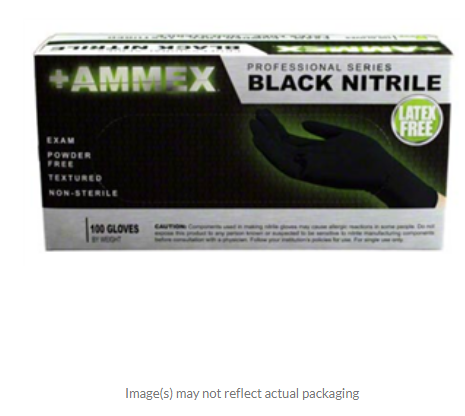 AMMEX Nitrile Exam Glove, Black,4ml  Large  Professional series  BOX OF 100